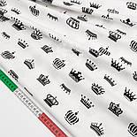 """Лоскут сатина """"Чёрные короны"""" на белом №1440с, размер 45*80 см, фото 2"""