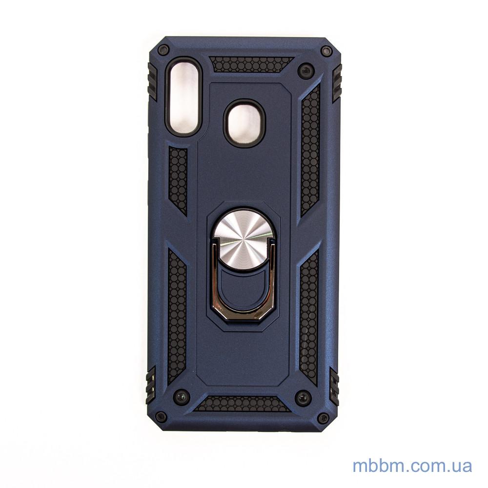 Ударопрочный чехол Serge Ring под магнитный держатель Samsung A20/A30 Deep Blue