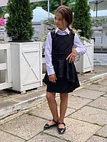 Школьный сарафан с асимметричной баской и перфорацией №654 (р.128-146) черный, фото 1