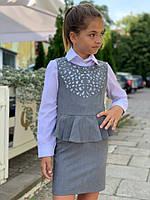 """Школьный сарафан """"Перфорация"""" №655 (р.128-146) серый, фото 1"""