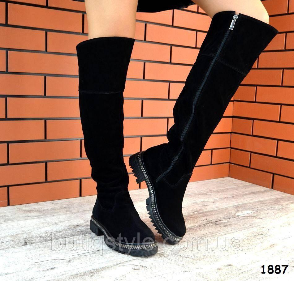 Черные женские сапоги ботфорты на низком ходу натуральная замша  Деми