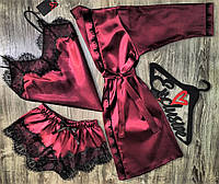 Халат+майка+шорты-атласный комплект тройка 034-002 вишня.