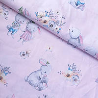 Ткань с зайками и цветочками на розовом, ширина 160 см, фото 1