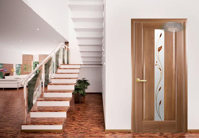 Межкомнатная дверь Премьера со стеклом и рисунком