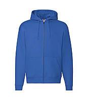 Мужская толстовка с капюшоном на молнии премиум синяя 034-51