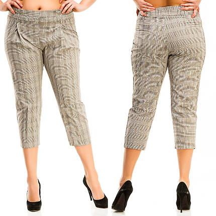 """Укороченные женские брюки в клетку """"PALERMO"""" с поясом (большие размеры), фото 2"""