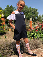 Школьное платье сарафан №719 (р.122-146) темно-синий, фото 1