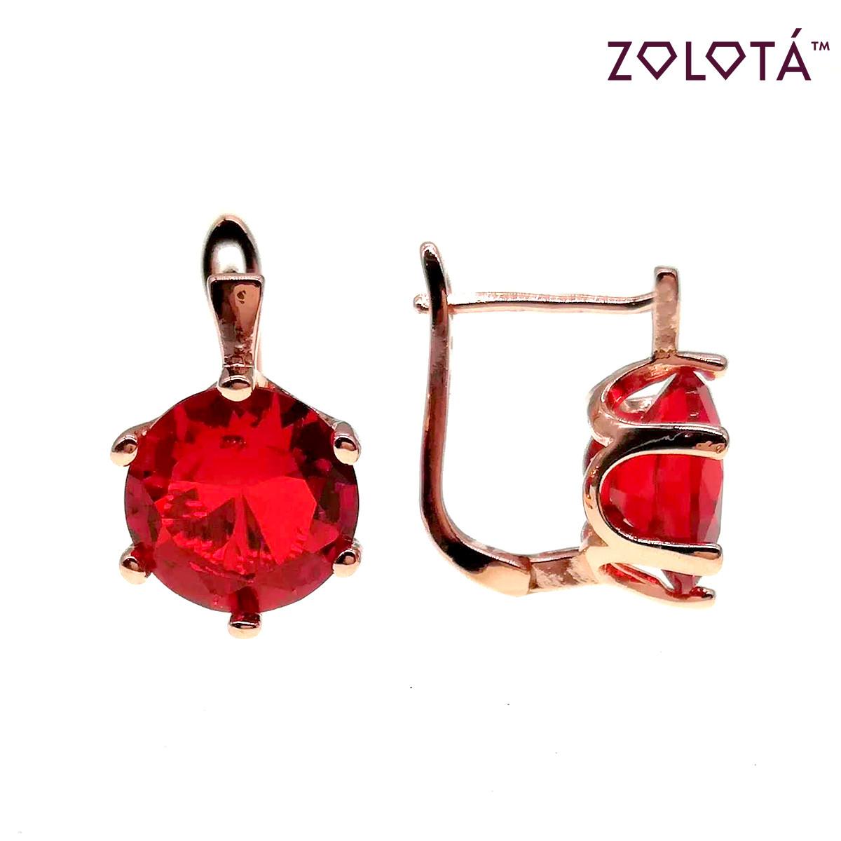 Серьги Zolota с красными фианитами (куб. цирконием), из медицинского золота, в позолоте, ЗЛ00557 (1)