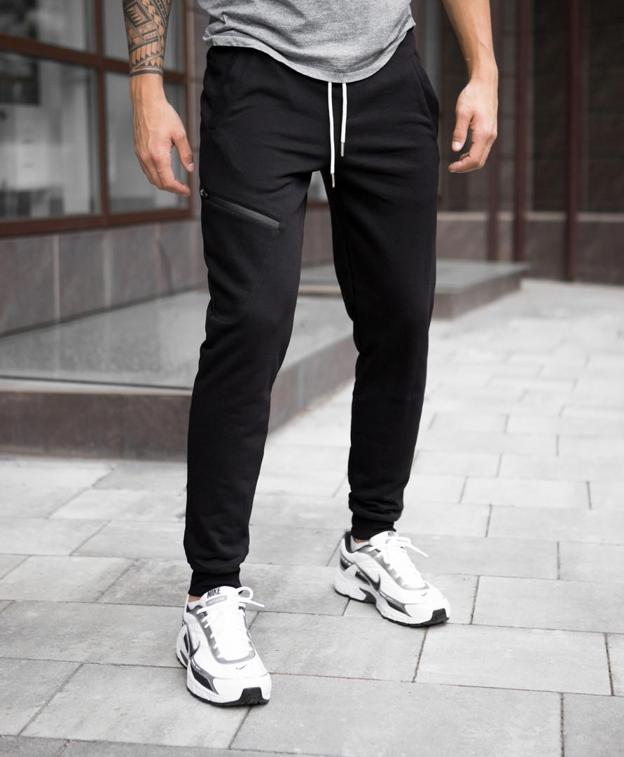 """Молодежные мужские хлопковые штаны """"Арнольд"""" внизу на резинке черные - размеры S, XL"""