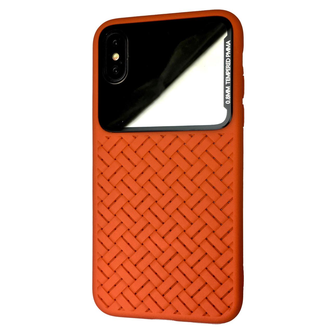 Чехол Silicone Weaving Case Mirror Apple iPhone XS Max (orange)