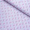 Ткань c розовыми фламинго на белом фоне, ширина 160 см