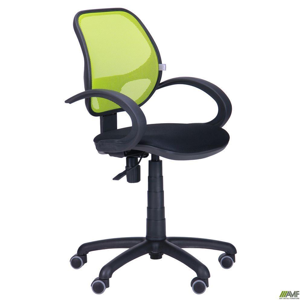 Кресло Байт/АМФ-5 сиденье Сетка черная/спинка Сетка лайм