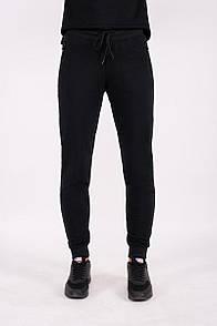 Черные штаны спортивки из хлопка с манжетами