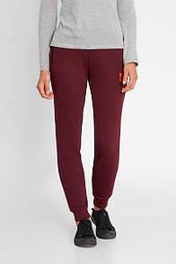 Бордовые штаны спортивки из хлопка с манжетами