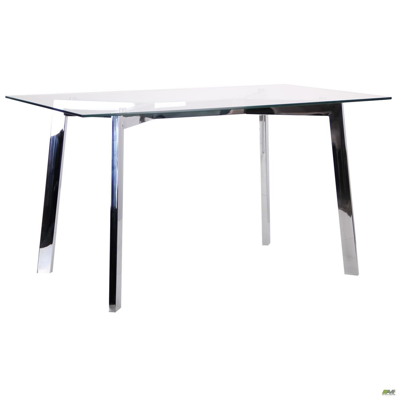 Стол обеденный Луиджи DT-1610 хром/стекло прозрачное