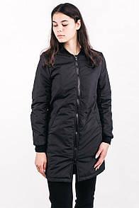 Удлиненный бомбер куртка урбан пленет черного цвета