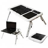 Столик для ноутбука E-Table LD-09 Портативный складной с 2 USB кулерами, фото 3
