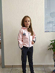 Костюм детский для девочки 28-36 р-р двух нить кофта на молнии капюшон+штаны вышивка аппликация стразы лента.