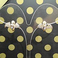 Серьги с замком, Летучая мышь, Цвет: Золото, Xuping, Позолота, Прозрачные стразы, фото 1