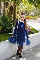 Школьное платье №527 (р.134-152) темно-синий, фото 1