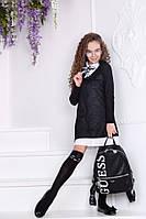 Школьный комплект (платье+платье-рубашка) №444 (р.134-152) черный, фото 1