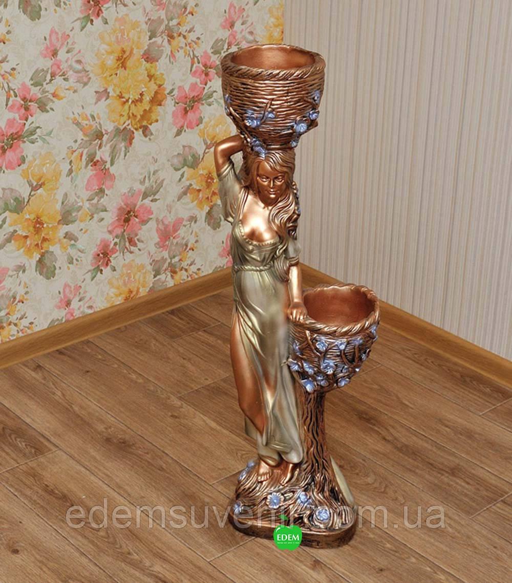 Кашпо цветное статуя Таня оливковое платье