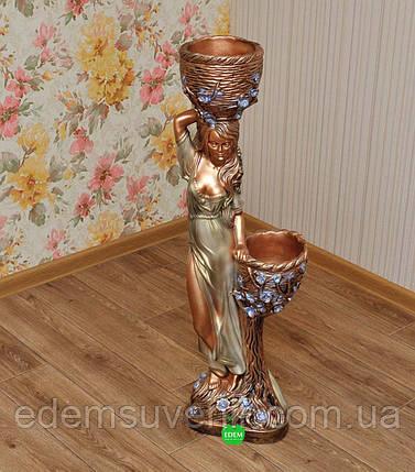 Кашпо цветное статуя Таня оливковое платье, фото 2