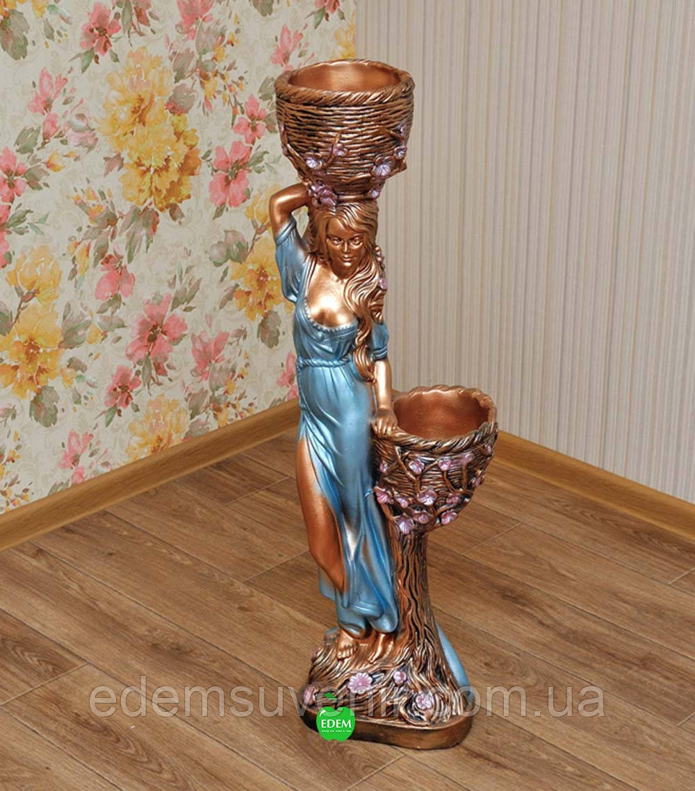Кашпо бронза статуя Таня голубое платье