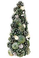 Елка новогодняя с декором из шишек, ягод и цветов, 38см, цвет - зеленый, набор 2 шт