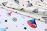 "Отрез сатина ""Парусники и штурвалы"" на белом №1735с, размер 50*160 см, фото 4"