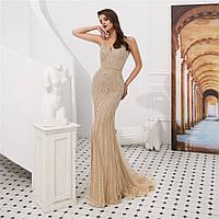 Облегающее вечернее платье ручной работы. Вечірнє плаття рибка. Очень красивое вечернее платье расшито бисером