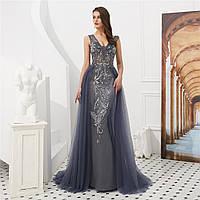 Розкішна розшита  вечірня сукня ручної роботи. Вечерние платье ручной работы коллекция 2019-2020