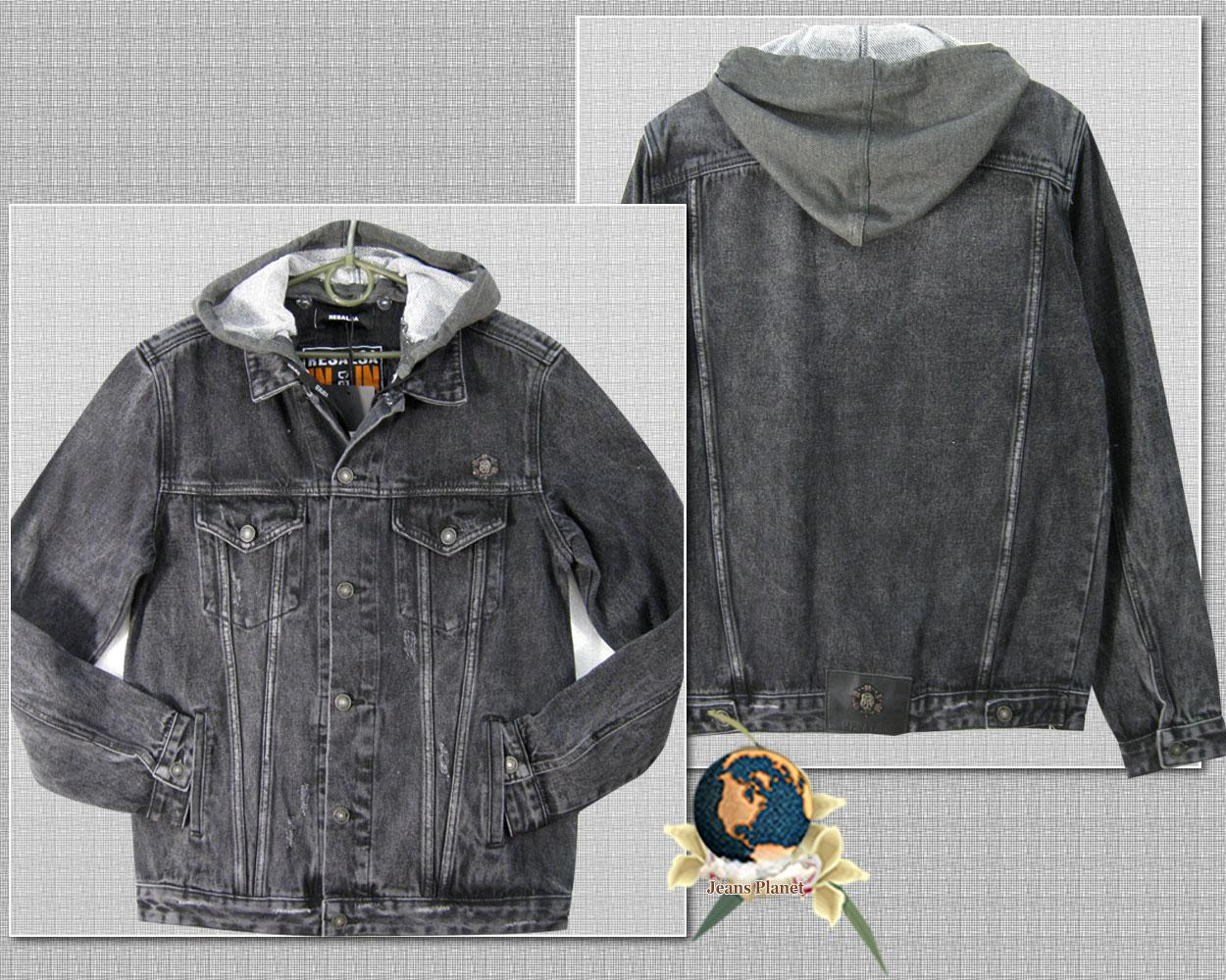 Куртка мужская джинсовая коттонка темно-серого цвета с капюшоном XL