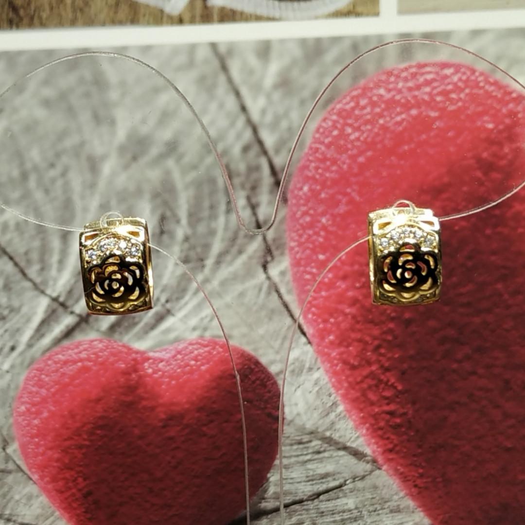Серьги с замком, Роза, Цвет: Золото, Xuping, Позолота, Прозрачные стразы