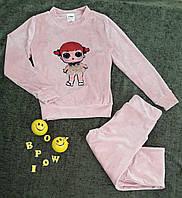 Велюровый спортивный костюм с аппликацией Лола р. 122-146, розовый