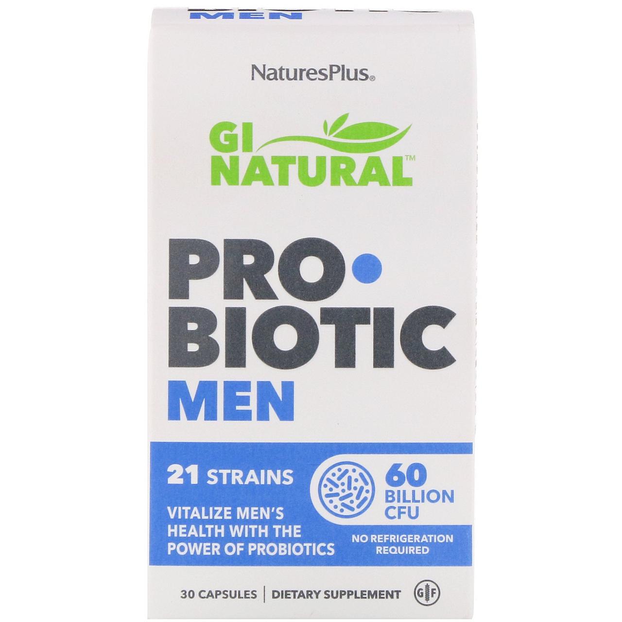 "Пробиотики для мужчин ""GI Natural"" от Nature's Plus, 60 миллиардов КОЕ, 30 капсул"
