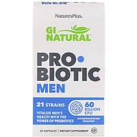 """Пробиотики для мужчин """"GI Natural"""" от Nature's Plus, 60 миллиардов КОЕ, 30 капсул, фото 1"""