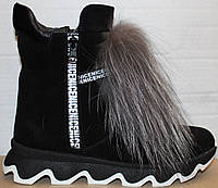 Ботинки зимние женские с натуральным мехом на танкетке от производителя модель УН508