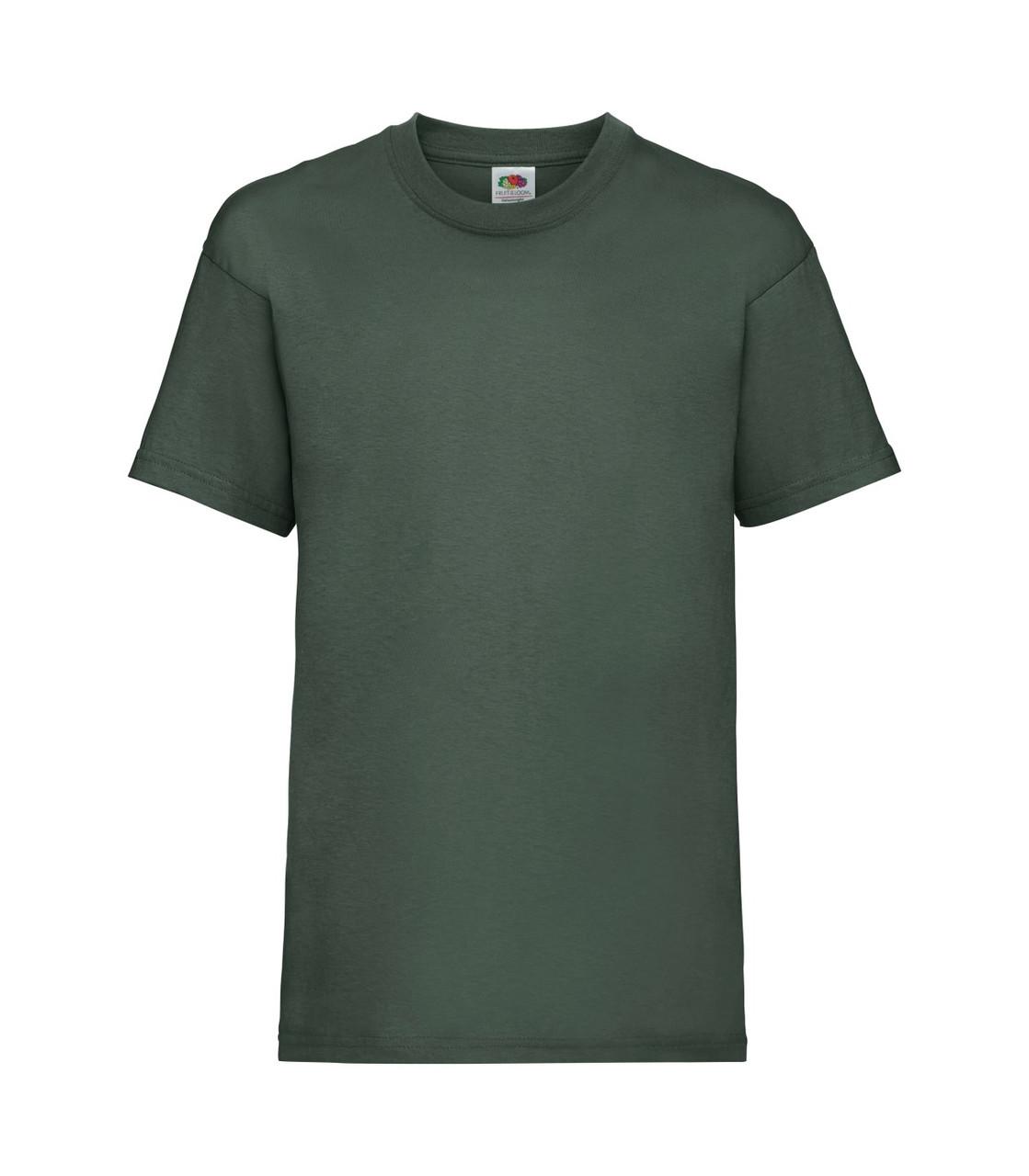 Футболка для мальчиков однотонная темно-зеленая 033-38