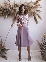Лиловое Платье с имитацией блузки