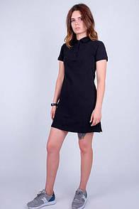 Черное платье поло из однотонного коттона