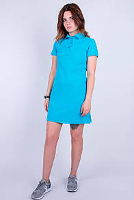 Синее платье поло из однотонного коттона