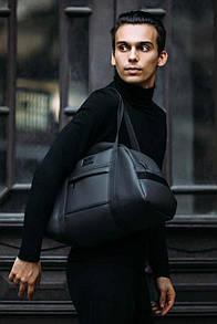 Дорожная сумка из черного матового кожзама
