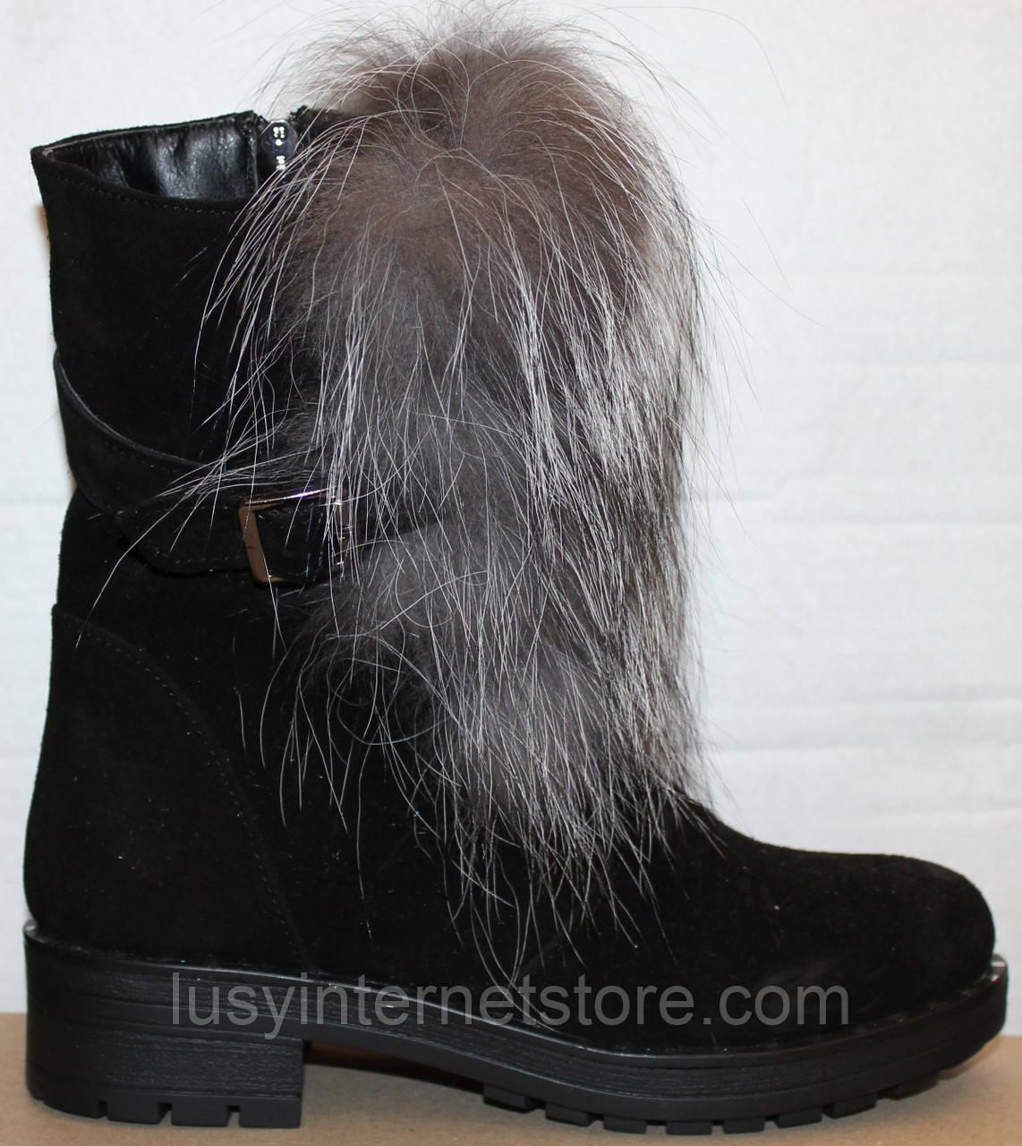 Ботинки молодежные женские с натуральным мехом на каблуке от производителя модель УН437