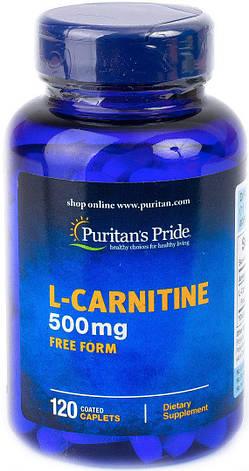 Жиросжигатель Л-Карнитин Puritan's Pride L-Carnitine 500 mg 120 капс, фото 2