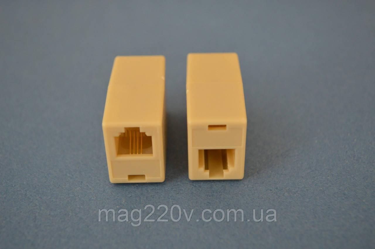 Соединитель телефонного кабеля 2 х RJ-11/4Р4С
