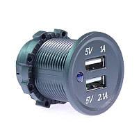 Автомобильный адаптер 2 порта USB 3.1А с подсветкой