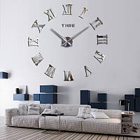 3Д-часы 80 см Римские серебристые зеркальные наклейки стикеры настенные большие [Пластик]