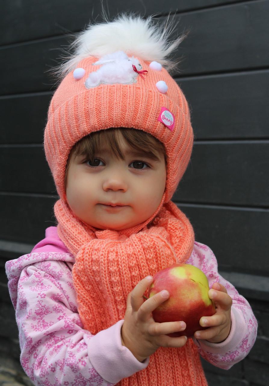 Зимняя шапка для девочки Зайчик, внутри на махре