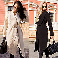 Пальто женское кашемировое, удлиненное, с карманами, стильное, ассиметричное, с поясом в комплекте, фото 1